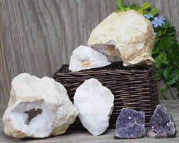 Calcite Geode Pair - 2 Small Geodes Set with Amethyst 2 Pieces DN101