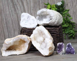 Calcite Geode Pair – 2 Small Geodes Set with Amethyst 2 Pieces DN103