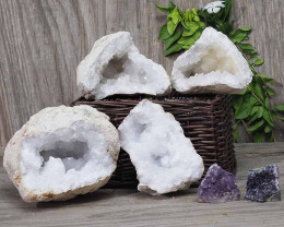 Calcite Geode Pair – 2 Small Geodes Set with Amethyst 2 Pieces DN104