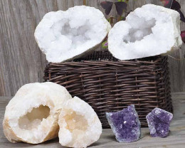 Calcite Geode Pair – 2 Small Geodes Set with Amethyst 2 Pieces DN105