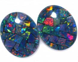 3.3 cts Australian Opal  Mosaic Triplets Pair FO 1512