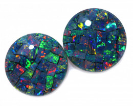 3.3 cts Australian Opal  Mosaic Triplets Pair FO 1524