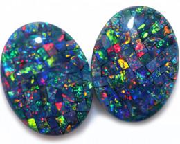 21 cts Australian Opal  Mosaic Triplets Pair  FO 1566