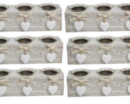 Wholesale Box of 6 Heart Triple Candle Holder      code C-HEARTCH3x6