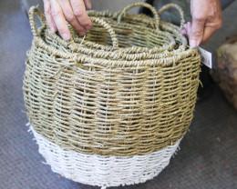Set of 3 Cane / White Basket   code C-BASKWHIS