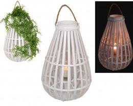 60cm White Bamboo Deco Lantern / Planter  code C-BAMWHPM