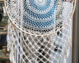 80cm Stunning Design Rattan White Crochet Dreamcatcher   code C-DREARAWL