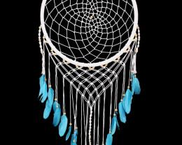 52cm White Macrame Dream Catcher with Blue Feather   code C-DREAMWBF