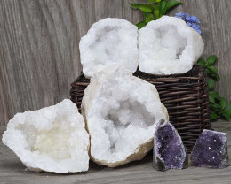 Calcite Geode Pair – 2 Small Geodes Set with Amethyst 2 Pieces DN108
