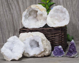 Calcite Geode Pair – 2 Small Geodes Set with Amethyst 2 Pieces DN110