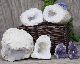 Calcite Geode Pair – 2 Small Geodes Set with Amethyst 2 Pieces DN112