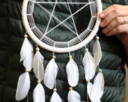 22cm White Pentagram Dreamcatcher  code C-DREAPENT