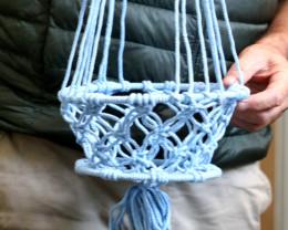 85cm Baby Blue Macrame Pot Holder  code C-MACPPAS