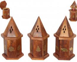 3 x  Wooden Temple Incense Holder  C-INSTEM3