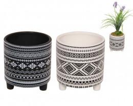 14.5cm    2 AZTEC Design Pot in Black & White  code-POTAZBW