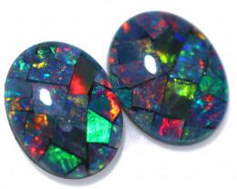 2.90 cts Pair Australian Opal  Mosaic Triplets  FO 1579