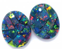 2.90 cts Pair Australian Opal  Mosaic Triplets 9 x 7mm FO 1582