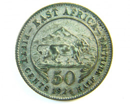1924 Britsh East africa Half Shilling  Silver Coin code J 112