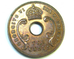 1937 British East africa 10 Cents coin code T 818