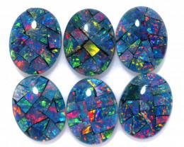 7 cts Parcel 6 Australian Opal  Mosaic Triplets  9x 7mm  FO 1586