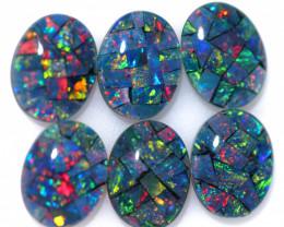 7 cts Parcel 6 Australian Opal  Mosaic Triplets  9x7mm FO 1587
