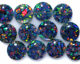 6 cts Parcel 12 Australian Opal  Mosaic Triplets 6x6mm  FO 1597