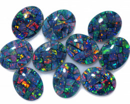 12 cts Parcel 10 Australian Opal  Mosaic Triplets 9x7mm  FO 1593