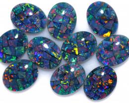 12 cts Parcel 10 Australian Opal  Mosaic Triplets  9x7mm FO 1592
