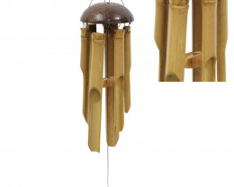 Bamboo 6 Tube Coconut Top Windchime  code C-BAMCOTP