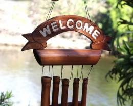 5 Tube Bamboo Welcome Windchime  code C-BAMWELFC