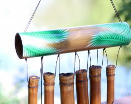 Bamboo Green Leaf Design Windchime  code C-BAMLEAFL