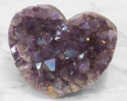 Titanium Purple Amethyst Druze Heart DN114