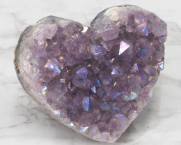 Titanium Purple Amethyst Druze Heart DN116