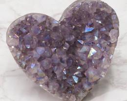 Titanium Purple Amethyst Druze Heart DN117