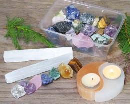 Selenite & Mixed Roughs Holistic Crystal Set