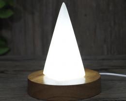 Selenite Pyramid with LED Light Crystal Display Base