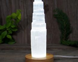 Selenite Tower 20cm with LED Light Crystal Display Base