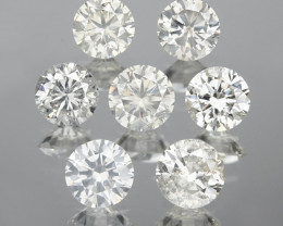 1.23 Cts 7pcs 3.55 Rd Untreated Fancy White Color Natural Loose Diamond