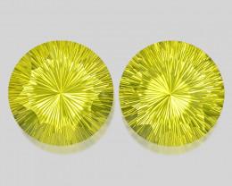 Lemon Quartz 77.60 Cts 2pcs Millemnium Cut  Natural Lemon Quartz