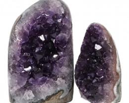 2.15kg Amethyst Polished Crystal Geode Specimen Set 2 Pieces DN125