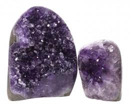 2.18kg Amethyst Polished Crystal Geode Specimen Set 2 Pieces DN126