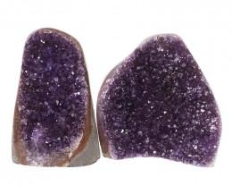 1.93kg Amethyst Polished Crystal Geode Specimen Set 2 Pieces DN127