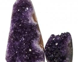 1.74kg Amethyst Polished Crystal Geode Specimen Set 2 Pieces DN128