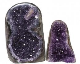 1.97kg Amethyst Polished Crystal Geode Specimen Set 2 Pieces DN130