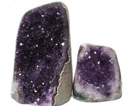 1.90kg Amethyst Polished Crystal Geode Specimen Set 2 Pieces DN133