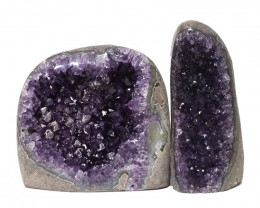 2.06kg Amethyst Polished Crystal Geode Specimen Set 2 Pieces DN134