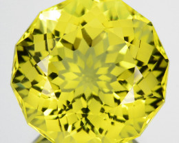 13.81 Cts Supreme Natural Lemon Quartz Round Custom Cut Collectible REF VID