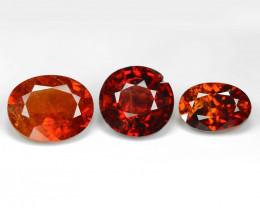 *No Reserve*Spessartite 3.18 Cts 3 pcs Natural Orange - Red Garnet