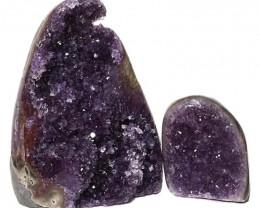 1.83kg Amethyst Polished Crystal Geode Specimen Set 2 Pieces DN136