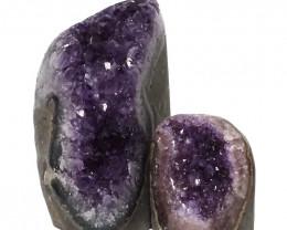 1.92kg Amethyst Polished Crystal Geode Specimen Set 2 Pieces DN137